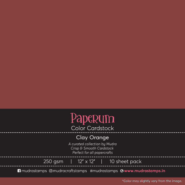 Clay orange Color Cardstock Paper board 250gsm 12x12 - Mudra Paperum