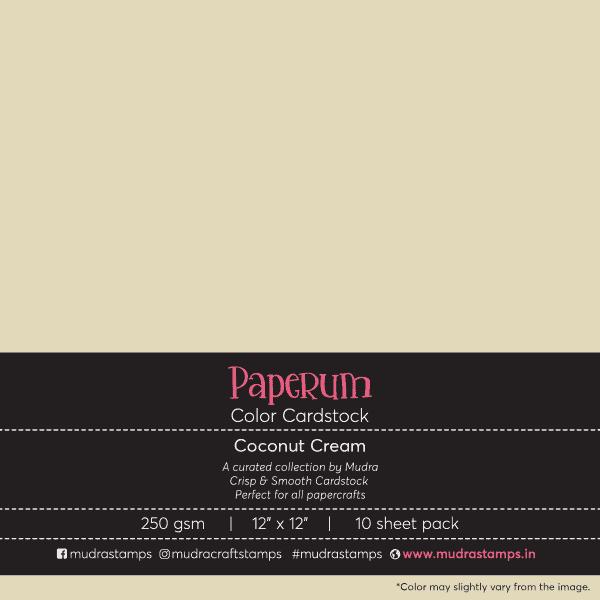 Coconut Creme Neutral Color Cardstock Paper board 250gsm 12x12 - Mudra Paperum