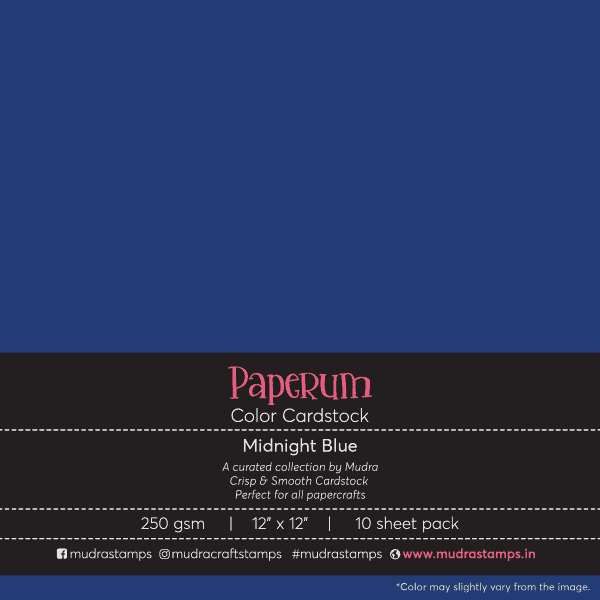 Midnight Blue Color Cardstock Paper board 250gsm 12x12 - Mudra Paperum