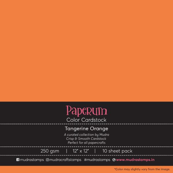 Tangerine Orange Color Cardstock Paper board 250gsm 12x12 - Mudra Paperum