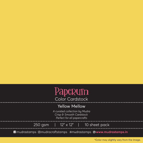 Yellow Mellow Color Cardstock Paper board 250gsm 12x12 - Mudra Paperum