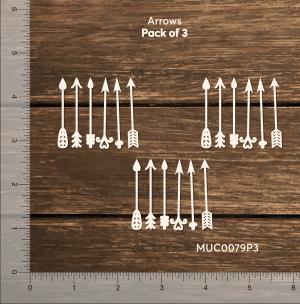 Chipzeb - Arrows - Pack of 3 - designer chipboard laser cut embellishment by Mudra