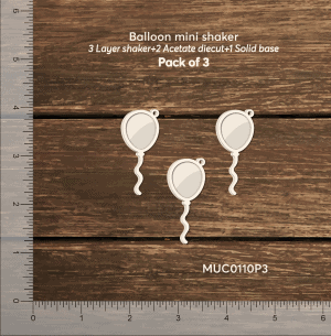 Chipzeb - Balloon Mini Shaker - designer chipboard laser cut embellishment by Mudra