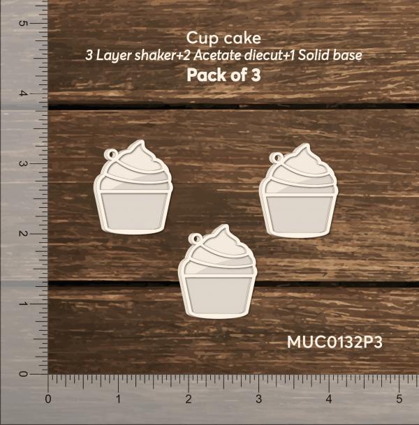 Chipzeb - Cup Cake - designer chipboard laser cut embellishment by Mudra