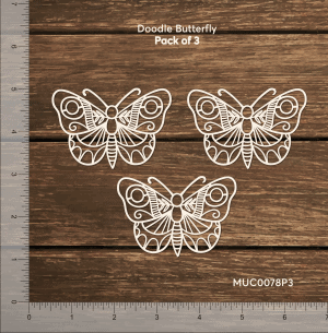 Chipzeb - Doodle Butterfly - designer chipboard laser cut embellishment by Mudra