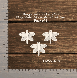 Chipzeb - Dragonfly Mini Shaker W/oh - designer chipboard laser cut embellishment by Mudra