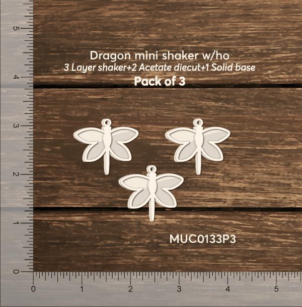 Chipzeb - Dragonfly Mini Shaker W/oh - designer chipboard laser cut embellishment by Mudra