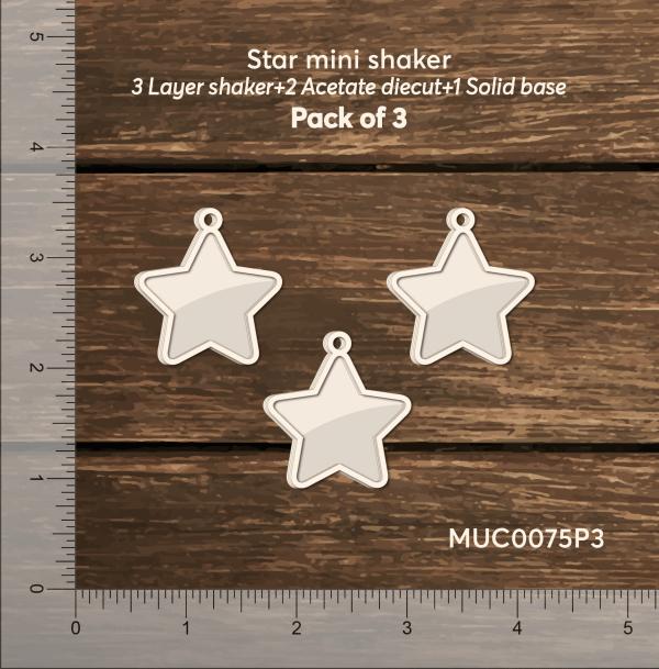 Chipzeb - Star Mini Shaker- designer chipboard laser cut embellishment by Mudra