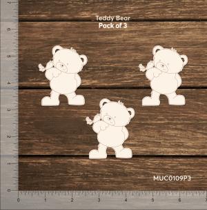 Chipzeb - Teddy Bear - designer chipboard laser cut embellishment by Mudra
