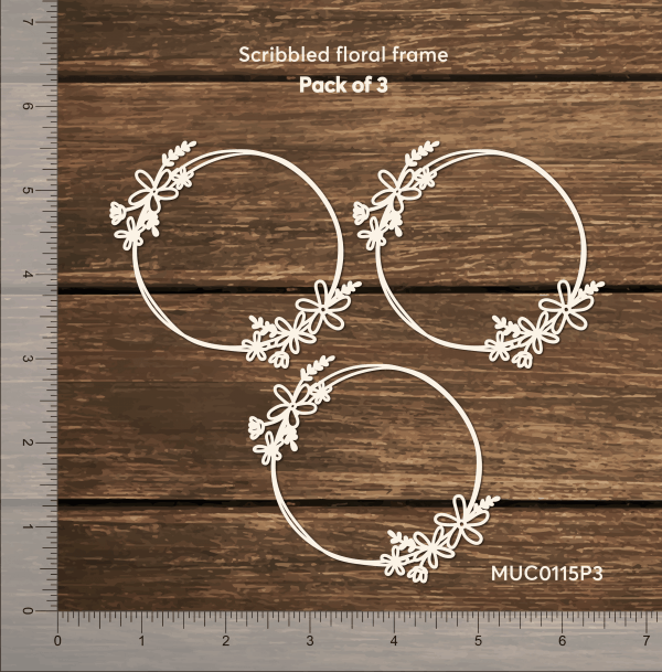 Chipzeb - Scribbled Floral Frame - designer chipboard laser cut embellishment by Mudra