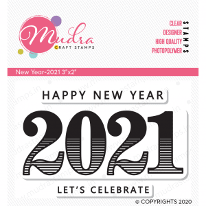 Happy New Year 2021 design photopolymer stamp for crafts, arts and DIY by Mudra