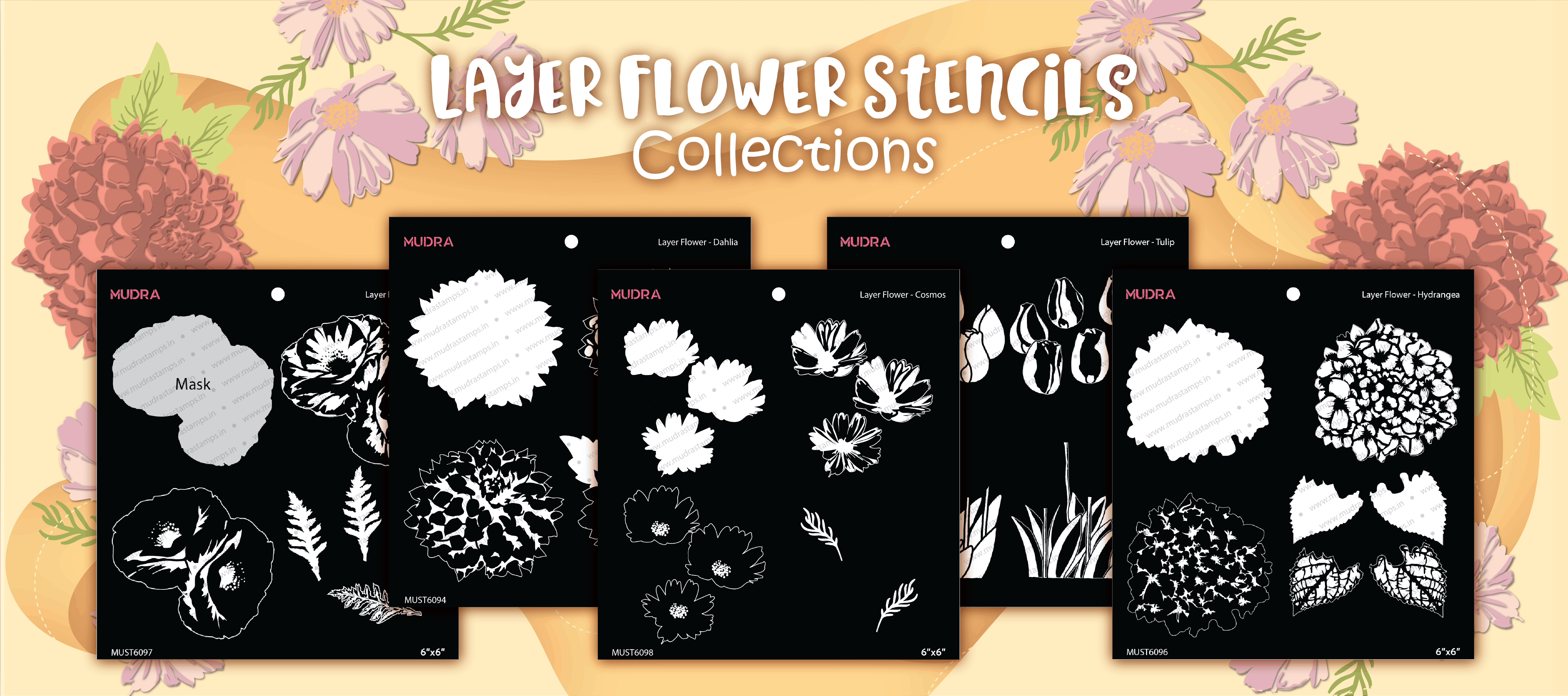 Mudra Layer Floral Stencil for Diy, arts and crafts